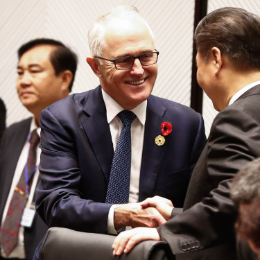 Malcolm Turnbull speaks with Xi Jinping at an APEC summit in 2017.