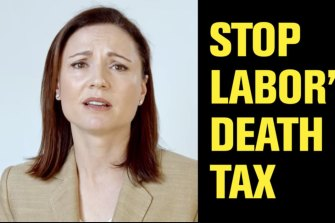 Clive Palmer's United Australia Party ad falsely claimed in the recent state election that Labor would introduce a death tax. This ad features his wife, UAP deputy leader Anna Palmer.