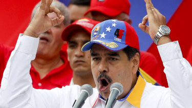 "Venezuela's President Nicolas Maduro speaks during an anti-US ""anti-imperialist rally"" for peace in Caracas in March."