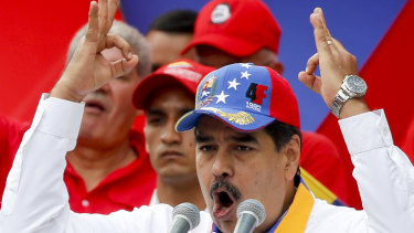 Venezuela's President Nicolas Maduro speaks during an anti-imperialist rally for peace in Caracas on Saturday.