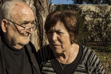 Les and Vicki Kermanidis in parkland  across the road from their Bulleen home of 46 years. It is among six hectares of open space to go, to widen the Eastern Freeway.