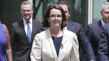 Social Services Minister Anne Ruston (centre).