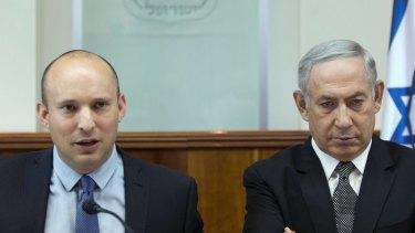 Israeli Prime Minister Benjamin Netanyahu, right, and Defence Minister Naftali Bennett.
