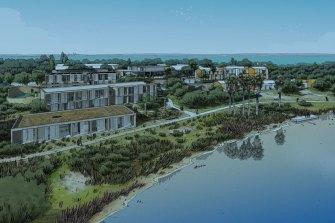 Artist's impression of the proposed Rottnest Island Lodge from Garden Lake.