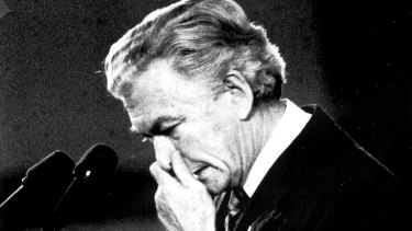Prime Minister Bob Hawke crying at a Chinese Memorial at Parliament House at the height of the Chinese Democracy Movement following the events at Tiananmen Square in 1989.