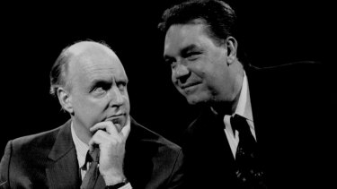John Clarke and Bryan Dawe in 1992.