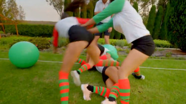 The bachelorettes played dirty in a game of moon hopper netball.
