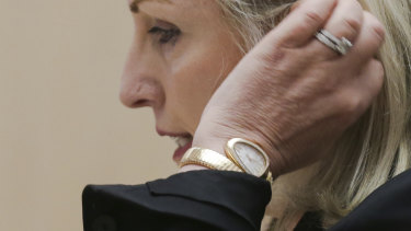 Australia Post's Christine Holgate during a Senate estimates hearing at Parliament House in Canberra on  Thursday.