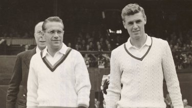 Frank Sedgman (right) before the 1952 Wimbledon final.