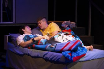 Ste (Bayley Prendergast) and Jamie (Will Manton) find a spark when circumstances leave them sharing a bed.