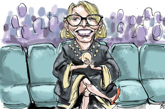 In the front row: Melbourne Lord Mayor Sally Capp prepares for Melbourne Fashion Week. Illustration: Joe Benke