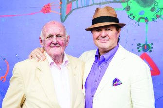 John Olsen and Tim at the launch of John's book 'My Salute' at the Sydney Opera House in 2015.