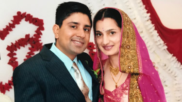 Parwinder Kaur (right) pictured with her husband in 2013.