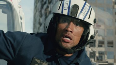 Dwayne Johnson as Ray in a scene from the action thriller San Andreas.