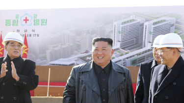 North Korean leader Kim Jong-un at the ground-breaking ceremony for a new  hospital in Pyongyang.
