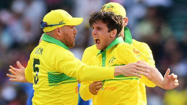 Fabulous spell: Jhye Richardson celebrates after taking the wicket of Ambati Rayudu.