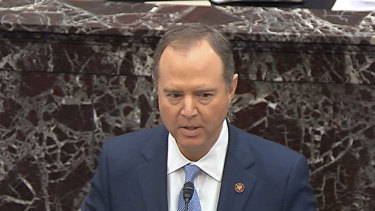 In this image from video, impeachment manager Representative Adam Schiff speaks against the organising resolution for the trial against President Donald Trump in the Senate at the US Capitol in Washington.