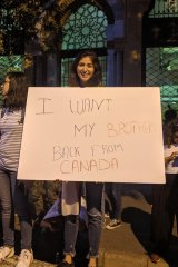 A young Lebanese protester highlights the country's brain drain due to absence of opportunities at home.