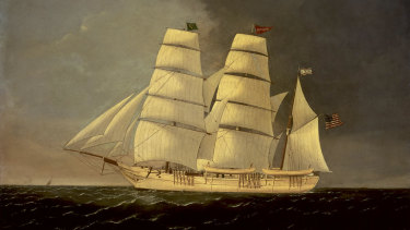 """""""The Fenian Rescue by the Catalpa 1876"""" by Henry McLaughlin, which is displayed in the Celtic Club, Perth."""