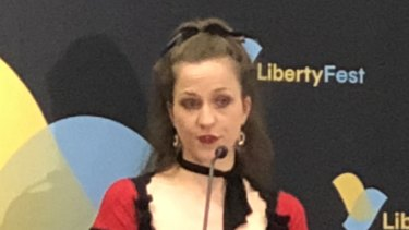 Conservative commentator Daisy Cousens spoke at the LibertyFest conference in Brisbane on Saturday.