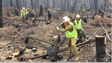 Australian Defence Force personnel assist the ABC to restore broadcasting services by clearing bushfire debris around a tower.