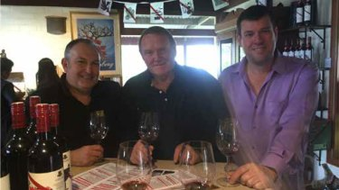 Former Liberal MPs Brian Ellis, Nigel Hallett and Phil Edman at the 2016 wine trip in Adelaide.