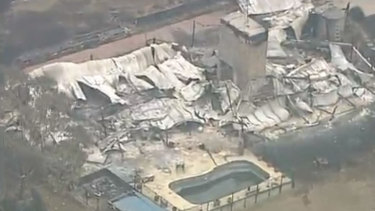 An aerial view of Tonimbuk, showing thedevastation caused by the Bunyip State Park bushfire.