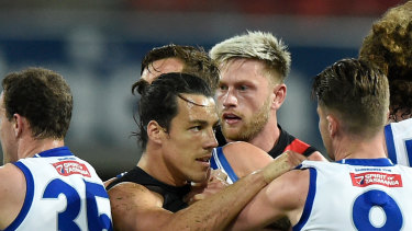 Dylan Shiel during Essendon's win over the Roos.