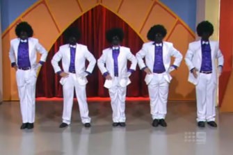 Performers in blackface on an episode of Hey Hey It's Saturday.