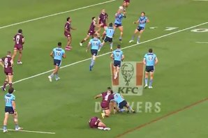 Jake Friend (bottom of frame) stayed down as he tried to pressure Nathan Cleary in the same set.