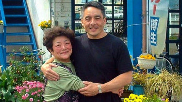 Bruce Hollywood with his mother, Nobue Ouchi.