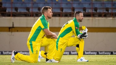 Aaron Finch and Matthew Wade pictured earlier in the West Indies tour.