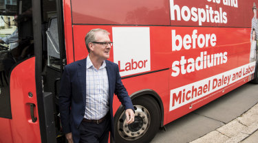 NSW Labor leader Michael Daley campaigning in the seat of Coogee.