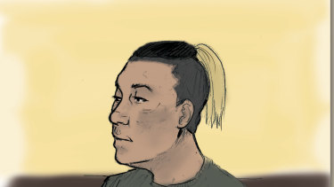 A sketch of Alexander MinVui Wong in court.