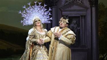 Diego Torre as Ernani and Natalie Aroyan as Elvira in Opera Australia's Ernani.