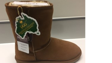 An Ozwear ugg boot from its 'Classic Uggs' range which is manufactured in China.