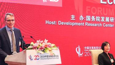BHP CEO Andrew Mackenzie at the China Development Forum 2019 in Beijing.