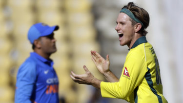 Adam Zampa after taking M.S. Dhoni's wicket during the recent ODI series in India.