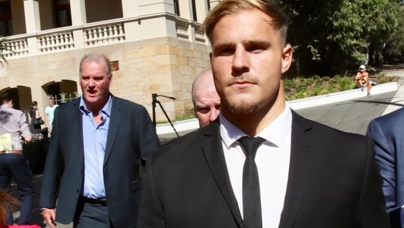 Stirring up public opinion: Jack de Belin leaves court in Wollongong.