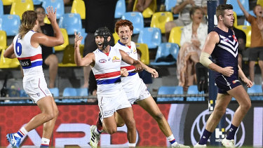 Unleashed: Caleb Daniels celebrates after scoring a goal during the Western Bulldogs' crucial win over Fremantle.