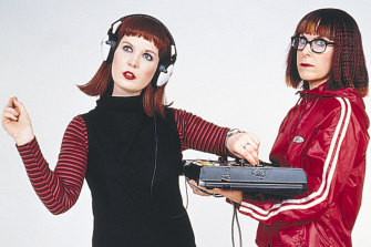 """Crawford (at left) in the early 2000s with Nicole Skeltys: their electronic dance music duo B[if]tek explored """"the human/machine divide""""."""