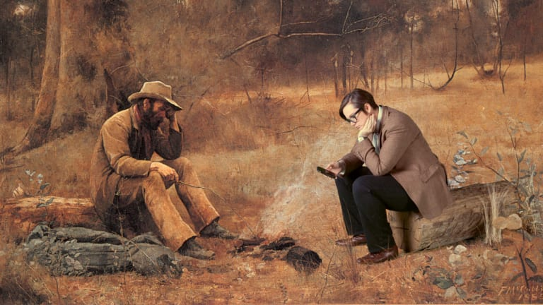 "Gadsby in a recreation of Frederick McCubbin's painting ""Down on His Luck"" for a 2014 show promotion."