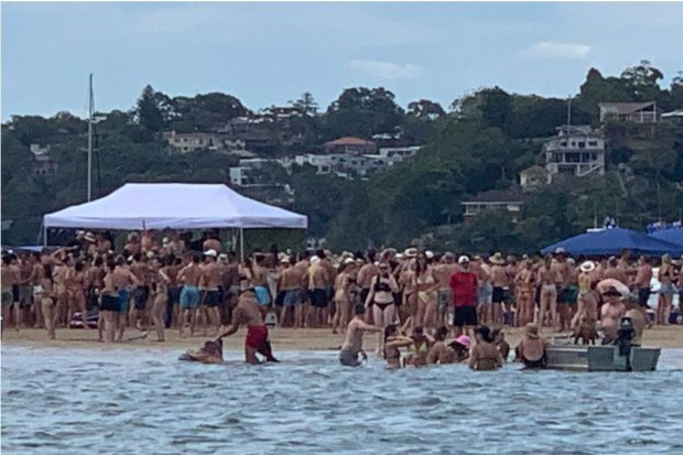 At 3pm, police attended a party on a sandbar at Lilli Pilli where about 100 people were gathered for a party.