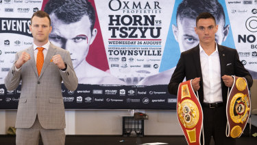 Jeff Horn and Tim Tszyu at their pre-fight press conference.