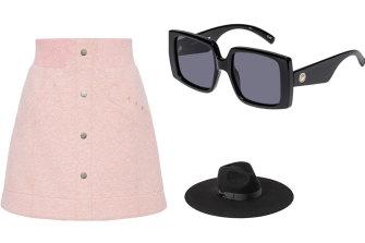 Frankie skirt, $245, Aje; Glo Getter Sunglasses, $69, LeSpecs; Montana Muse II hat, $119, Lack of Color.