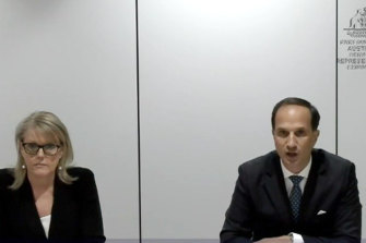 AMP chief executive Francesco De Ferrari and managing director of superannuation Lara Bourguignon appear via video link before the House of Representatives economics committee inquiry into the superannuation sector on Thursday.