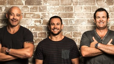 Happier times: Mark Geyer (left) alongside his former Triple M Grill Team colleagues Matthew Johns and Gus Worland.