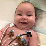 Four-month-old Maddie in hospital last week.