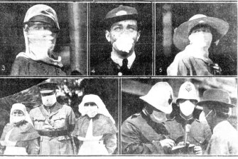 Australians wearing masks during the Spanish flu outbreak.