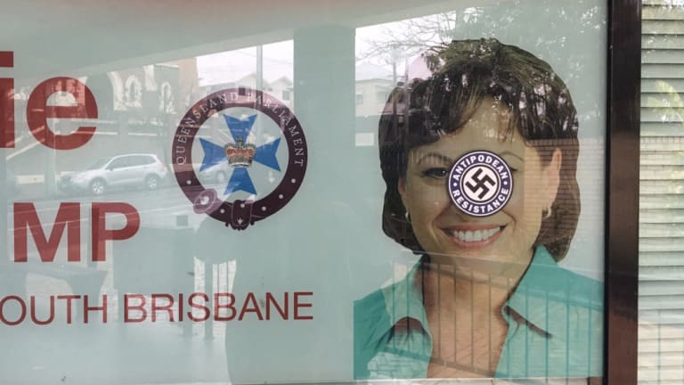 Jackie Trad's office was targeted with Nazi imagery in Brisbane on Thursday.